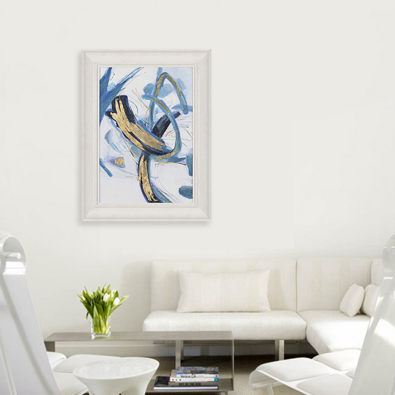 BLUE&GOLD ABSTRACT FRAMED ART