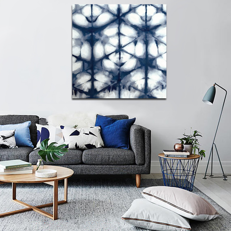 BLUE WHITE CANVAS ART