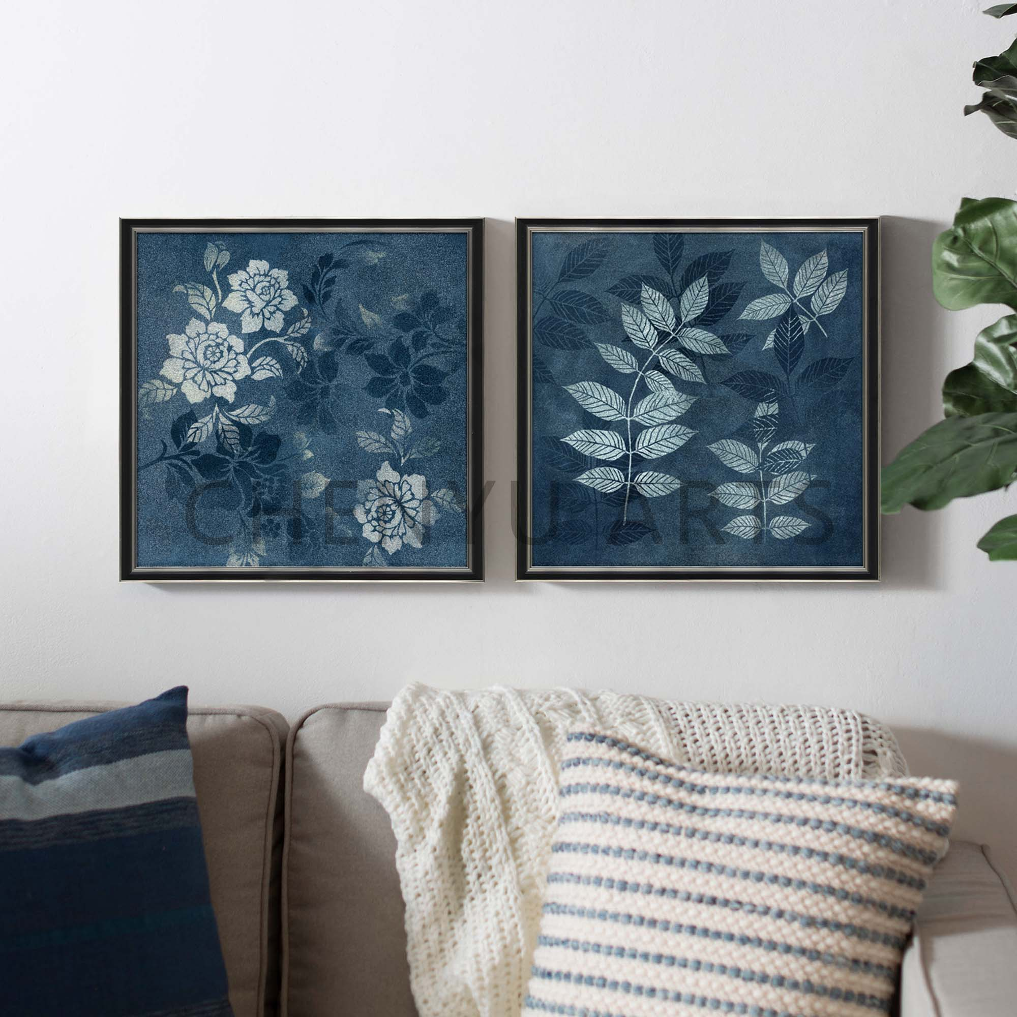 LEAF AND FLORAL FRAMED ART